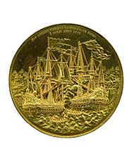 Representational medal of 360 ducats, 1677. Christian V, King of Denmark (1670-1699), in celebration of the Danish victories at sea, medallist Christoph Schneider (Germany - 1701 Denmark), gold, 1258.85 g, 129 mm, 12 h. Vienna Coin Cabinet, inv. 249 bß.