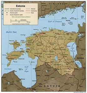 Zum Vergleich, die aktuelle Karte von Estland. Quelle: Wikipedia.