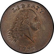 Lot 3013: 1793 Flowing Hair Cent. Sheldon-3. Rarity-3-. Chain, AMERICA. No Periods. Mint State-65 RB (PCGS). Price Realized: $998,750.