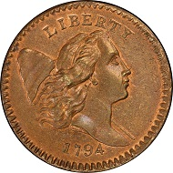 Lot 3004: 1794 Liberty Cap Half Cent. Cohen-7. Rarity-5. High Relief Head. Mint State-67 RB (PCGS). Price Realized: $940,000.