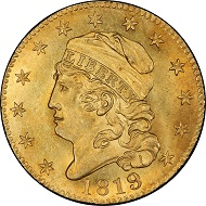 Lot 3153: 1819 Capped Head Left Half Eagle. Bass Dannreuther-1. 5D/50. Rarity-6+. Mint State-65 (PCGS). Price Realized: $423,000.