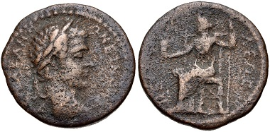 Lot 376: EPIRUS, Nicopolis. Caracalla. AD 198-217. McClean 5149. Good Fine, brown patina, light roughness. Rare. From the J. S. Wagner Collection. Estimate $100.