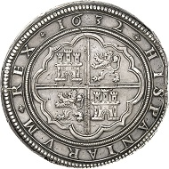 Lot 3425: SPAIN. Felipe IV, 1621-1665. Cincuentin (50 reales) 1632, Segovia. Only 10 specimens struck. Very fine to extremely fine. Estimate: 30,000,- euros.
