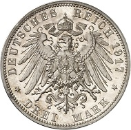 Lot 5747: GERMAN EMPIRE. Saxony. Frederick August III, 1904-1918. 3 mark 1917 E. Frederick the Wise. Proof. Estimate: 60,000,- euros.