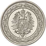 Lot 5517: GERMAN EMPIRE. 20 pfennig 1887 E. Only 50 specimens struck. Nearly FDC. Estimate: 5,000,- euros.