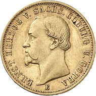 Lot 6187: GERMAN EMPIRE. Saxe-Coburg-Gotha. Ernest II, 1844-1893. 20 mark 1872. Very fine to extremely fine. Estimate: 60,000,- euros.
