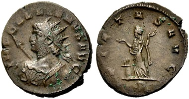 Catalogue No 502: Gallienus, 253-268. Antoninianus, 265-266. Rv. Pietas.