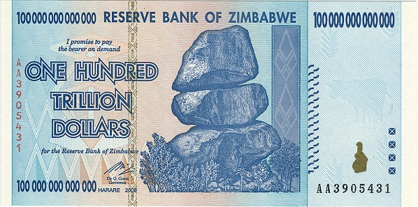 This 100 trillion Zimbabwean dollar note from 2008, released into circulation in January 2009, is just enough to buy a weekly pass for public transport.