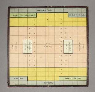Suffragetto Board, with box containing rules and 42 pieces (complete). [Sargeant Bros, c. 1917]. © Bodleian Libraries, University of Oxford.