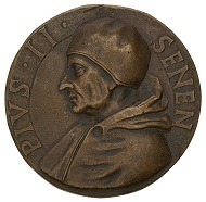 Medal on Pope Pius II, the former Council participant and envoy Enea Silvio Piccolomini, who bestowed a privilege for and granted the foundation of the University of Basel in 1460, HMB inv. 1905.678.