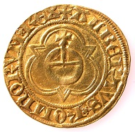 Gold gulden of the Imperial Mint of Basel, in the name of King Albert II of Habsburg (1438-1439), HMB inv. 1903.2535.
