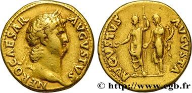 Lot 83: Nero, Aureus, 64-65, VF. Estimate: 5,500 euros.