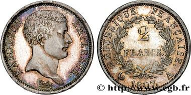 Lot 364: 2 francs Napoléon Empereur, tête de nègre, 1807, Paris F.253/1, EF. Estimate: 7,000 euros.
