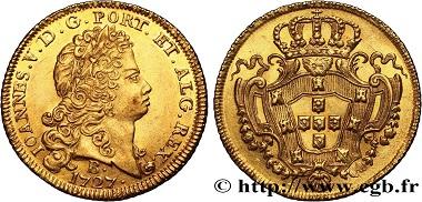 Lot 453: Brazil, Jean V, 6400 Reis, 1er type, 1727, Bahia, MS. 12,000 euros.