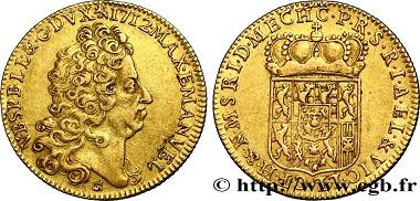 Lot 452: Belgium, Namur, Maximilien Emmanuel of Bavaria, Double Souverain d'or, 1712, Namur, aEF. Estimate 45,000 euros.