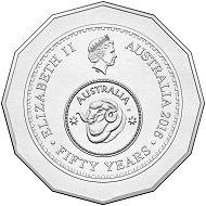 Obverse of the 2016 50c Circulating Coin.