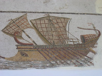 Mosaic depicting a Roman trireme. Photograph: Mathiasrex / https://creativecommons.org/licenses/by-sa/3.0/deed.en