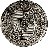 No. 401: HRE. Ferdinand I, 1522-1558-1564. Schautaler 1528, Hall, dies by Ulrich Ursentaler. On the archduke's attending the Tyrolean Landtag and his hereditary homage. Extremely rare. Extremely fine. Estimate: 20,000,- euros. Hammer price: 50,000,- euros.