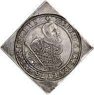 Nr. 624: UNGARN. Wladislaus II., 1490-1516. Vierfache Reichstalerklippe 1626 CC, Kaschau. Dav. 4716. Sehr selten. Vorzüglich. Taxe: 100.000,- Euro. Zuschlag: 110.000,- Euro.