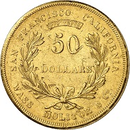 Nr. 672: USA / TERRITORIAL GOLD COINAGE OF CALIFORNIA. Wass, Molitor & Co. 50 Dollars, 1855. Fb. 83. Sehr selten. Sehr schön. Taxe: 35.000,- Euro. Zuschlag: 42.000,- Euro.