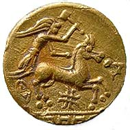 Abb. 1 Gallo-belgischer Hammergott in seinem goldenen Himmelswagen