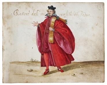 Codicetto Bottacin, liber amicorum illustrato, um 1865. MB inv. 970 (carta 27: Rektor der Universität Padua). © Comune di Padova/ Museo Bottacin.