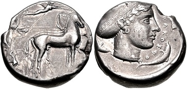 Lot 30: SICILY, Syracuse. Tetradrachm. Struck circa 430-420 BC. McClean 2687 (same dies). VF, lightly toned, reverse off center. From the Colin E. Pitchfork Collection. Estimate $500.