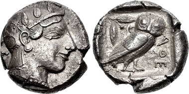 Lot 95: ATTICA, Athens. Circa 475-465 BC. Tetradrachm. Rhousopoulos 1970. Good VF, toned. Well centered. From the collection of a Northern California Gentleman. Estimate $2000.