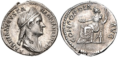 Lot 430: Sabina. Augusta, AD 128-136/7. Denarius. RIC II 399a (Hadrian); RSC 25. Near EF, lightly toned. From the J. Eric Engstrom Collection. Estimate $300.