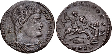 Lot 532: Magnentius. Treveri mint. Struck AD 350-Spring 351. RIC VIII 271; Bastien 32; LRBC 55. Good VF. From the J. Eric Engstrom Collection. Estimate $150.