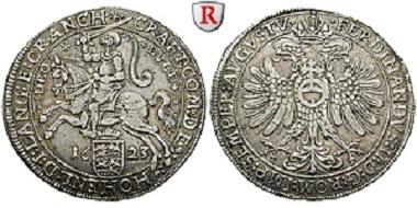 Hohenlohe-Neuenstein-Öhringen. Craft, Taler 1623, Neuenstein. Sehr schön bis vorzüglich. Selten. 1.350 Euro.