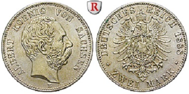 Sachsen. Albert, 2 Mark 1888. J. 121. Vorzüglich bis Stempelglanz. 1.900 Euro.