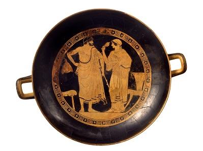 Kylix (Trinkschale), Motiv: Rollenbilder von Mann und Frau, 1. Hälfte 5. Jh. © Museen für Kulturgeschichte Landeshauptstadt Hannover.