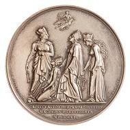 Medaille auf die Kapitulation von Spandau, Silber, Napoleon I., 1806. Slg Patschke 10761.663.130 (Rückseite Stadtgöttinnen). © Museen für Kulturgeschichte Landeshauptstadt Hannover.