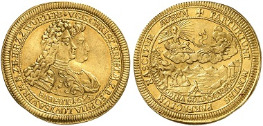 Christian Ernst, Margrave of Brandenburg-Bayreuth 1655-1712. 2 ducats 1695, Bayreuth. Yield of the Goldkronach mines. From Künker & London Coin Galleries Auction 1 (2015), 226. Estimate: 20,000 GBP. Price realized: 50,000 GBP (=65,600 euros).