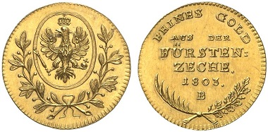 Frederick William III, Prussian King 1797-1840. Ducat 1803 B from the yields of the