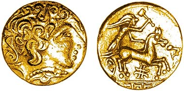 Fig. 2 Gold quarter stater of Ambiani tribe