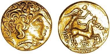 Abb. 2 Goldviertelstater des Stammes der Ambiani