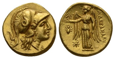 Lot 61: Kingdom of Macedon, Alexander III, 336-323. Uncertain mint in Greece or Macedonia Stater circa 310-275, SNG Ashmolean 3157. Price 831 (these dies). About Extremely Fine. Ex NAC sale 64, 2012, 2190. Starting Bid: £1,800.