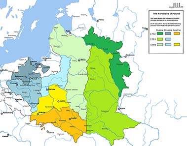 The Partitions of Poland. Source: Wikipedia.