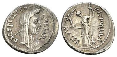 Lot 500: Julius Caesar and P. Sepullius Macer. Denarius 44. B. Julia 50 and Sepullia 5. C. 39. Sydenham 1074a. Sear Imperators 107e. Crawford, 480/14. Rare. Toned, minor porosity on obverse, otherwise Good Very Fine. Ex NAC sale 78, 2014, 2028. Starting Bid: £650.