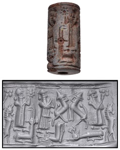 Lot 1223: Glazed ceramic cylinder seal. Syrian, Mitanni, circa 14th-13th centuries BC. From the J. S. Wagner Collection. Estimate $400.