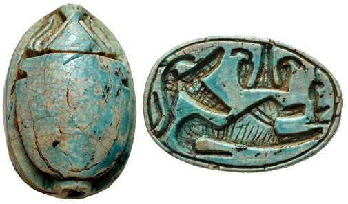 Lot 1084: 2nd Intermediate Period. Circa 1650-1550 BC. Blue glazed steatite scarab. Cf. Ben Tor p. 82. From the Carl Devries Collection. Estimate $300.