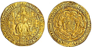 Lot 436: Mary (1553-1554), Sovereign, 1553, Schneider 704 same obverse die; N.1956; S.2488, almost extremely fine, rare. Estimated: £20,000-25,000.