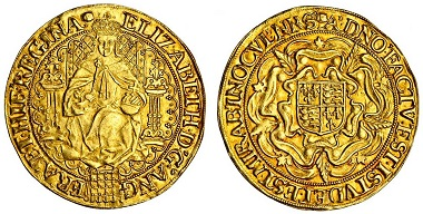 Lot 441: Elizabeth I (1558-1603), sixth issue 1583-1600, Sovereign, Brown & Comber A26; Schneider 783 (same dies); N.2003; S.2529, almost extremely fine, rare. Estimated: £20,000-25,000.
