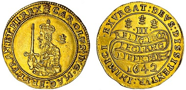 Lot 464: Charles I (1625-1649), Oxford, Triple Unite, 1642, B-J dies III/L1; cf. Schneider 287 (same obv. die); N.2382; S.2724, almost extremely fine, very rare with declaration on continuous scroll. Estimated: £50,000-70,000.