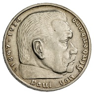 Germany. Third Reich. 5 reichsmark 1938. Eagle, wings spread, on wreath with swastika. R. Head of Paul von Hindenburg, facing right. Edge lettering (in translation):