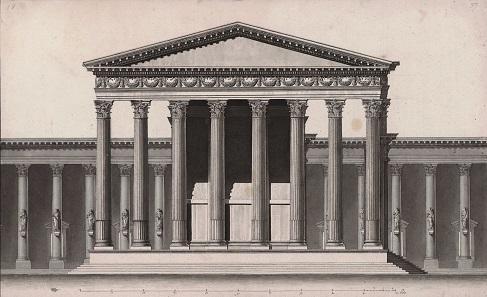 Louis François Cassas, Beltempel (Sonnentempel) von Norden, 1785, Feder in Schwarz, laviert. Wallraf-Richartz-Museum & Fondation Corboud, Köln.