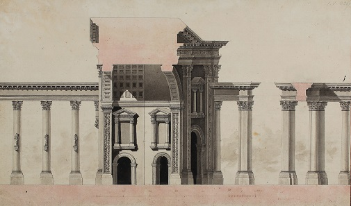 Louis François Cassas, Bogentor, Längsschnitt, Feder in Schwarz, laviert. Wallraf-Richartz-Museum & Fondation Corboud, Köln.