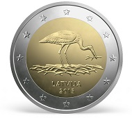 Latvia / 2 Euros / Cupro-Nickel, Nickel, Brass / 8.50 g / 25.75 mm / Design: Luc Luycx (common side) and by Olga Silova (national side) / Mintage: 1 Million.
